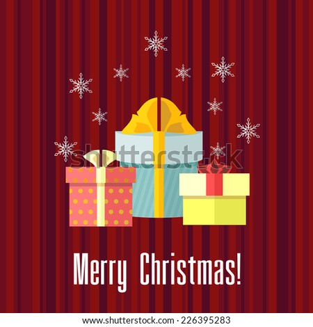 Red holiday Christmas card with group of presents and snowflakes - stock photo