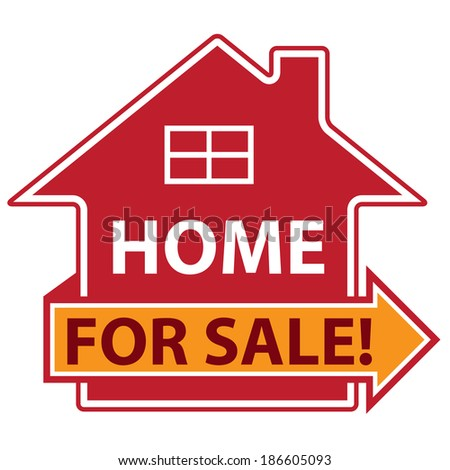 Red Home For Sale Icon or Label Isolated on White Background - stock photo