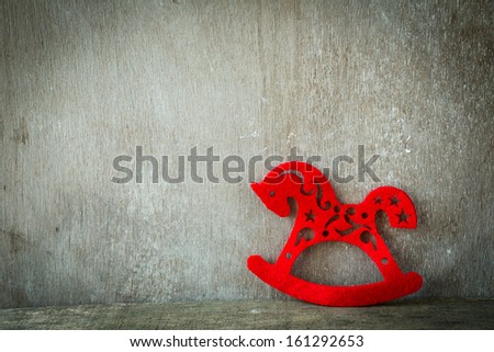 red horse - New Year 2014, decorations - stock photo