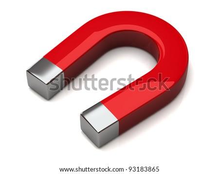 Red horseshoe magnet - stock photo