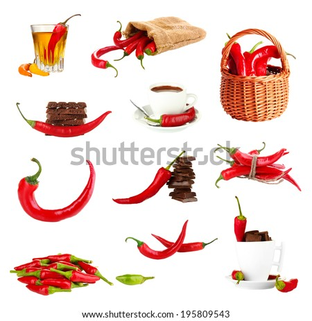 Red hot chili pepper collage, isolated on white - stock photo