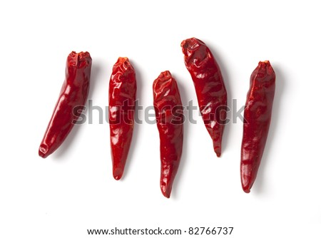 red hot chili pepper on white - stock photo