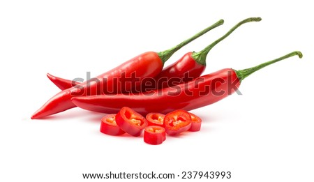 Red hot chili peppers and pieces isolated on white background as package design element - stock photo