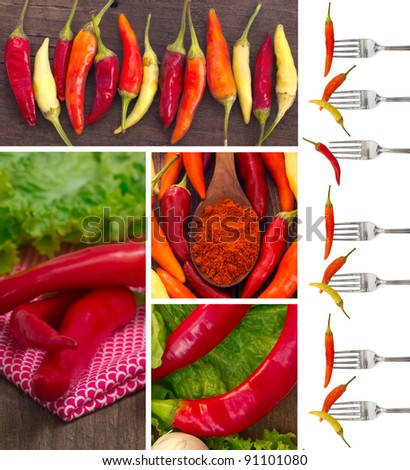 red hot chili peppers collage - stock photo