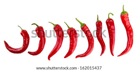 Red hot chili peppers isolated on  white - stock photo
