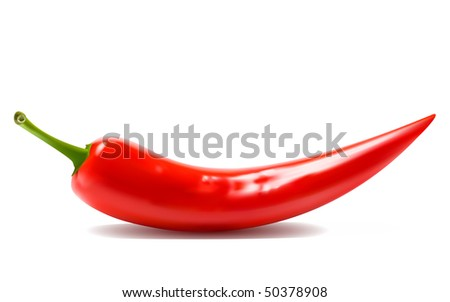 Red hot chili peppers on white background. raster version - stock photo
