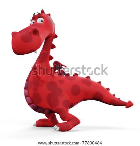 red hot dino dragon baby walking - stock photo