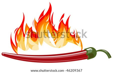 Red hot pepper with flames. Vector version is available. - stock photo