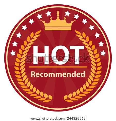red hot recommended icon, tag, label, badge, sign, sticker isolated on white - stock photo