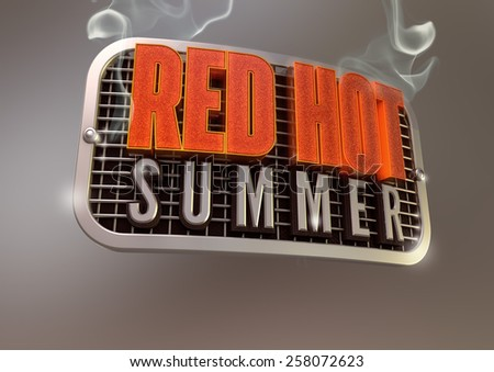 Red Hot Summer smoking title on retro style metal grill - stock photo