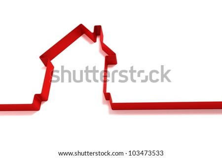 red house from ribbons isolated on white background - stock photo