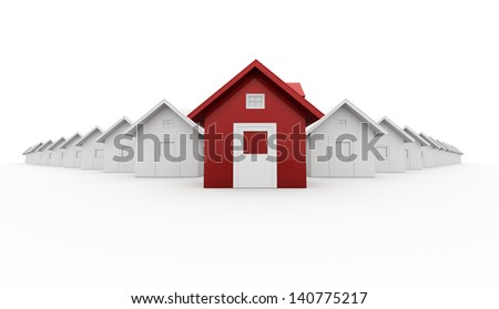 Red house leader icon concept isolated on white background - stock photo