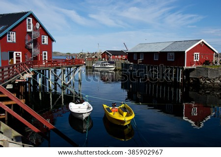 Red houses on Islands in Norway  - stock photo