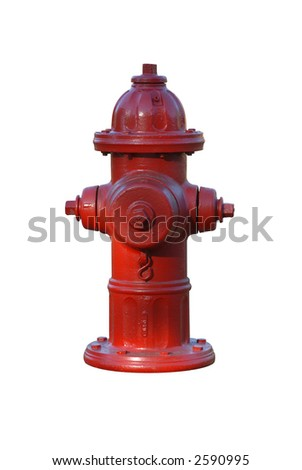 Red hydrant - stock photo
