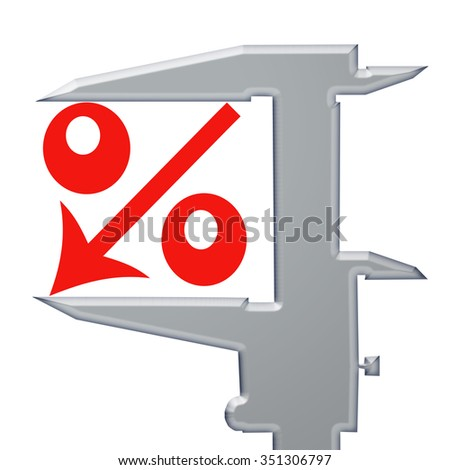 Red icon percent down and  steel caliber - stock photo