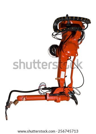 Red Industrial machine part on white background - stock photo