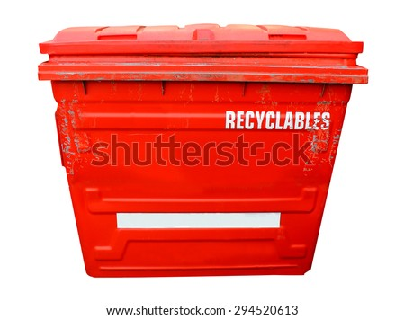 Red industrial recycling bin on a white background. - stock photo