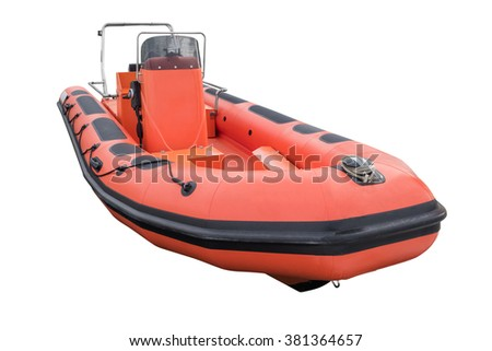 red inflatable boat isolated on white background - stock photo