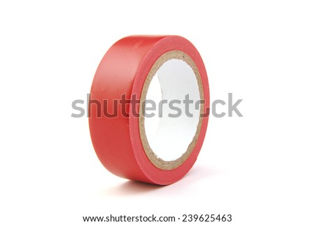 Red insulating tape on white background - stock photo