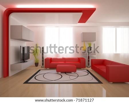 red interior design - stock photo