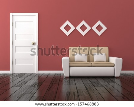 Red interior with sofa - stock photo