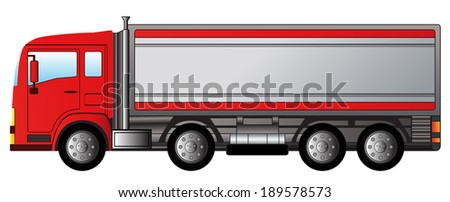 red isolated modern truck on white background - stock photo