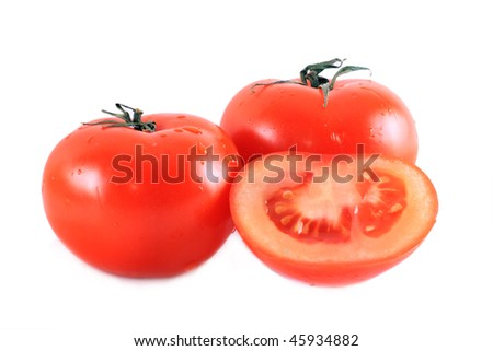 Red isolated tomatoes on the white background - stock photo