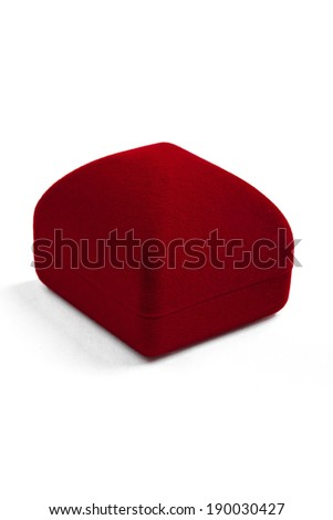 red jewelery box isolated on white - stock photo
