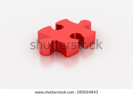 Red jigsaw piece on a white background, 3D render - stock photo