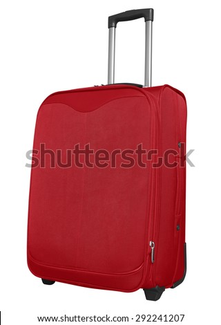 Red journey suitcase isolated on white. Clipping path included. - stock photo