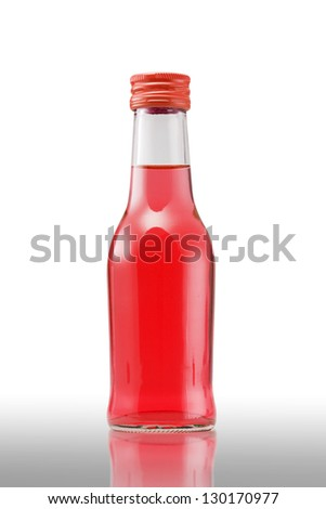Red Juice bottle on white background (with clipping path) - stock photo