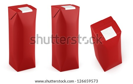 Red juice eight sides packing in different views - stock photo