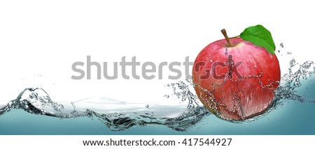 Red, juicy apple as a card on the water background. - stock photo