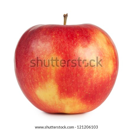 Red juicy apple isolated on white background - stock photo