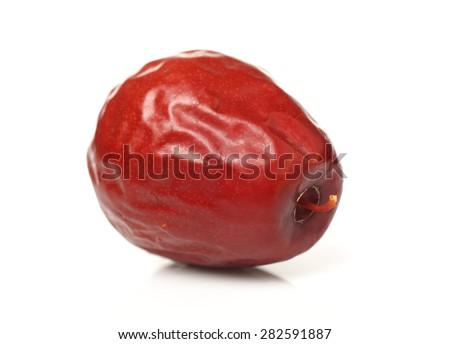 Red jujube isolated on white background - stock photo