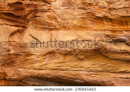 Red Jurassic cliffs at Ladram Bay, Devon, UK (Vertical dimension: +/- 2 meters across) - stock photo