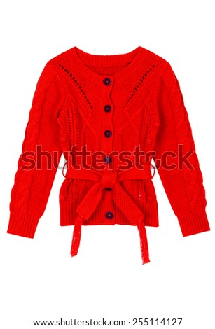 Red kid cardigan isolated on white background - stock photo