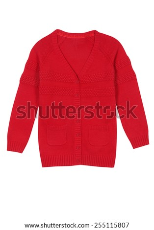 Red kids knitted sweater isolated on white - stock photo