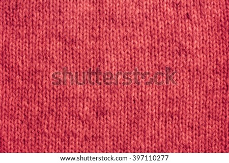 Red Knitted Wool Close-Up./Red Knitted Wool Close-Up - stock photo