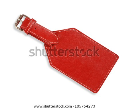 Red label on white background - stock photo