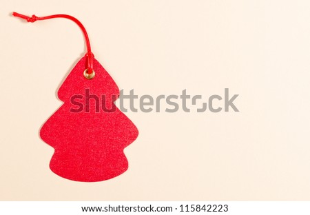 red label tree on the paper background - stock photo