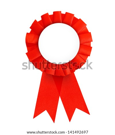 Red label with ribbons isolated on white background. - stock photo