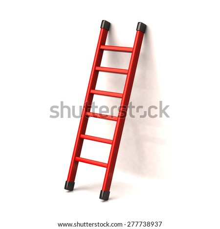 Red ladder to success  - stock photo