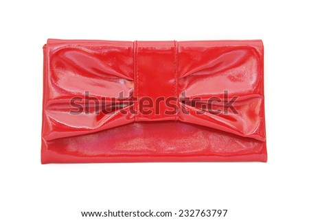 red ladies pouch on white background, top view - stock photo