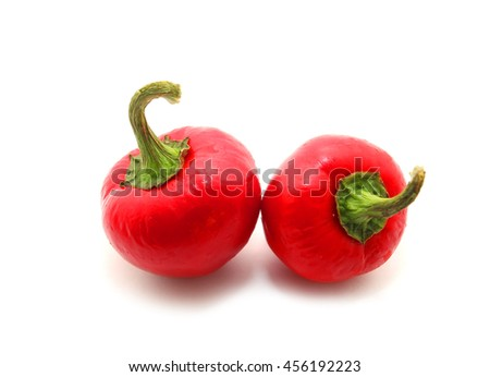Red lantern hot ripe habanero hot chili pepper from caribbean or mexico. Isolated on white - stock photo