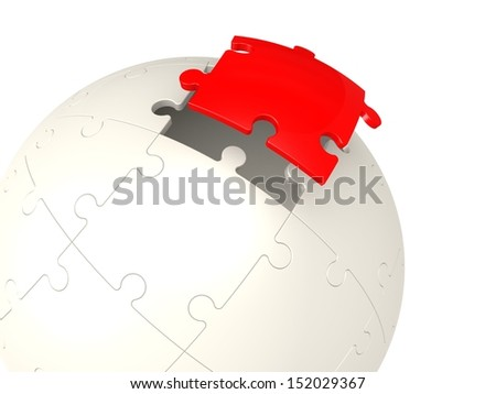 Red last puzzle - stock photo