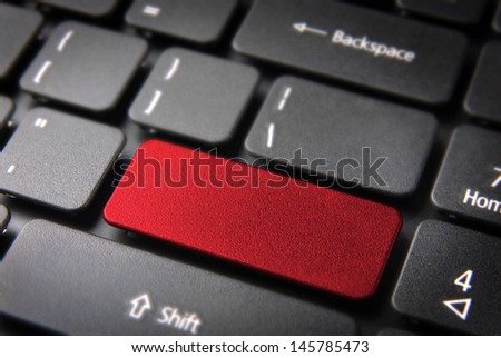 Red layout template key on laptop keyboard ready to include your own text or icon. Included clipping path, so you can easily edit it. - stock photo