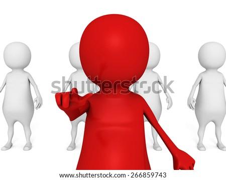 Red Leader Businessman Of Team Group. Volunteers Recruitment. 3d Render Illustration - stock photo