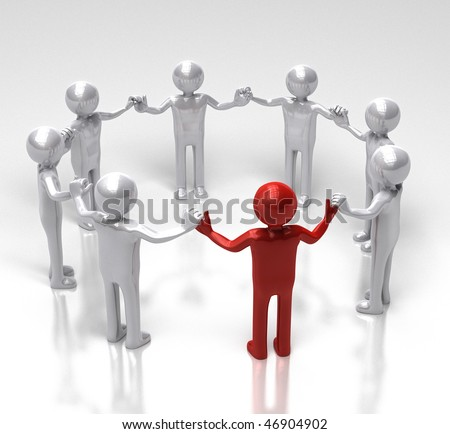 Red leader of the circle - stock photo