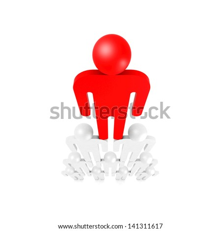 Red leader on top of pyramid of white abstract 3d people - stock photo
